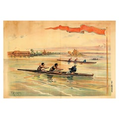 Original Antique Boat Race Poster by Pichat Featuring a Coxed Pair Rowing Race