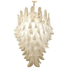 Mid-Century Modern Large Mazzega White/Clear Murano Petals Chandelier