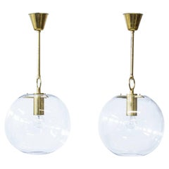 Pair of Glass and Brass Pendant Lamps by Hans-Agne Jakobsson, Sweden, 1960s