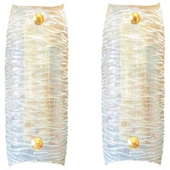 Pair of Mid-Century Modern Clear Textured Murano Glass and Brass Sconces