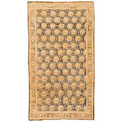 Antique Cream and Blue Persian Mashad Rug