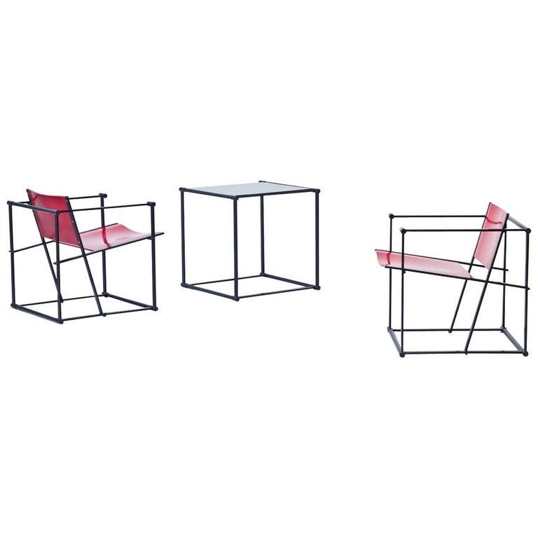 Set of Cubic Chairs & Table by Radboud Van Beekum for Pastoe, Netherlands, 1980s