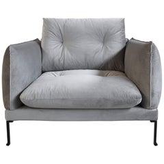 Santorini Handmade Contemporary Armchair, Tufted Cushions, Fabric Cover