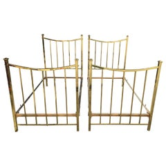 Pair of Art Deco Brass Beds French Single Twin Beds, circa 1930