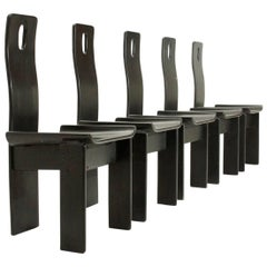 Set of Five Italian Black Lacquered Chairs, 1980s