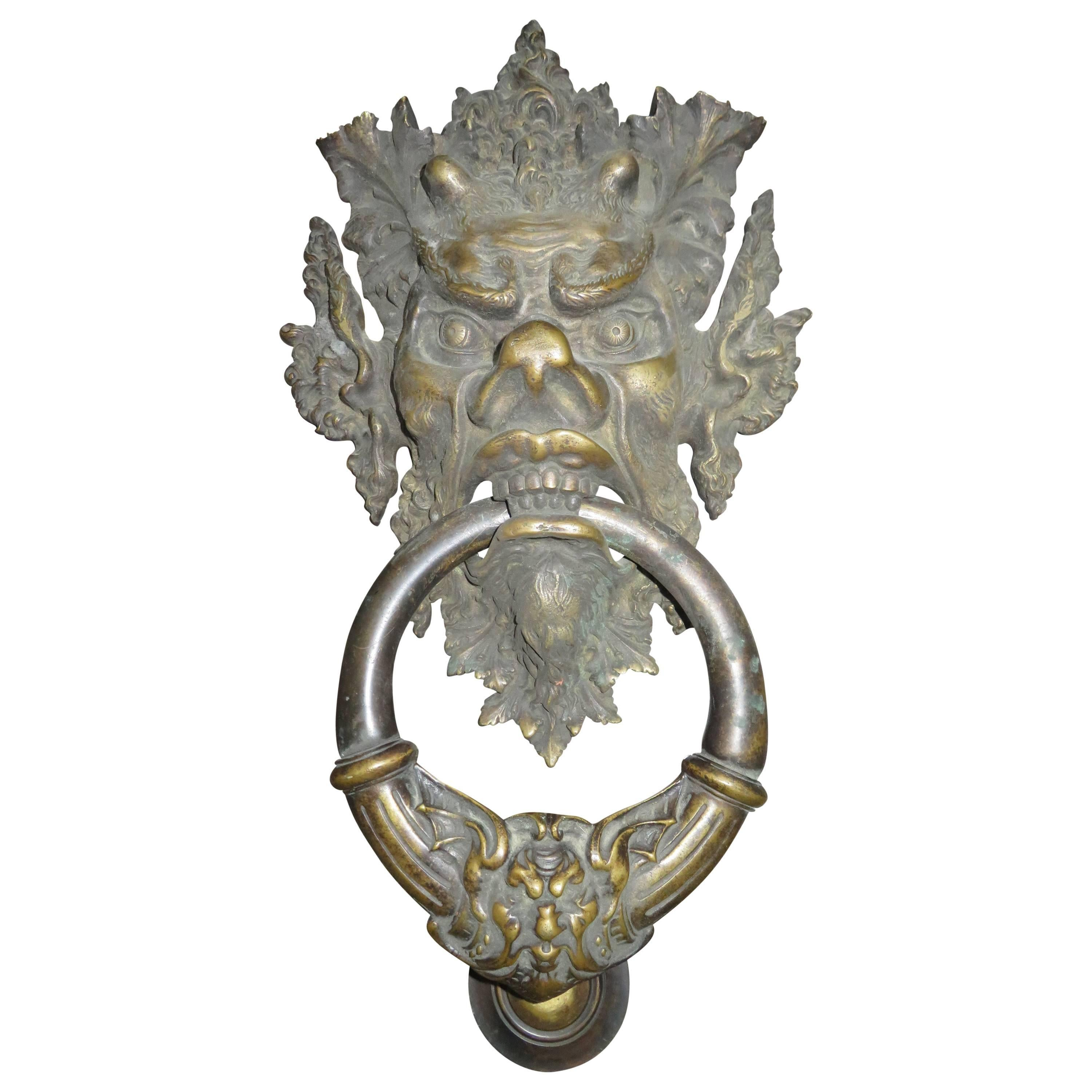 Awesome Antique Italian Bronze Vecchio Greenman Door Knocker For Sale