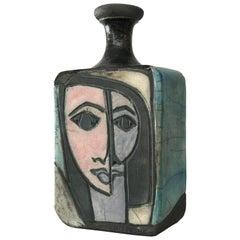 1960s Modernist Picasso Style Cubist Raku Vase or Bottle by Artist Linda Mielke