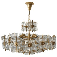 Large Gilt Brass and Glass Chandelier or Pendant Lamp by Palwa, Germany, 1970s