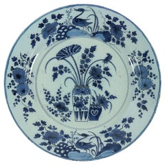 17th Century, Magnificent Faience Delft Cameo Blue Color Round Plate