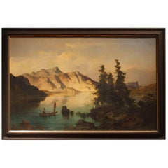 J. Brunner 1869 Oil on Canvas Austrian Landscape with Lake and Mountain Painting