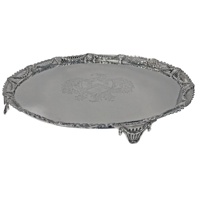 Large Georgian Silver Salver, London 1774 John Carter For Sale