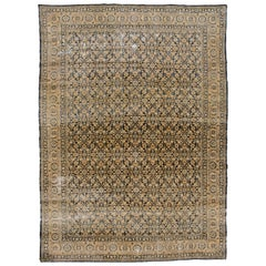 Antique Beige and Blue Persian Tabriz Carpet