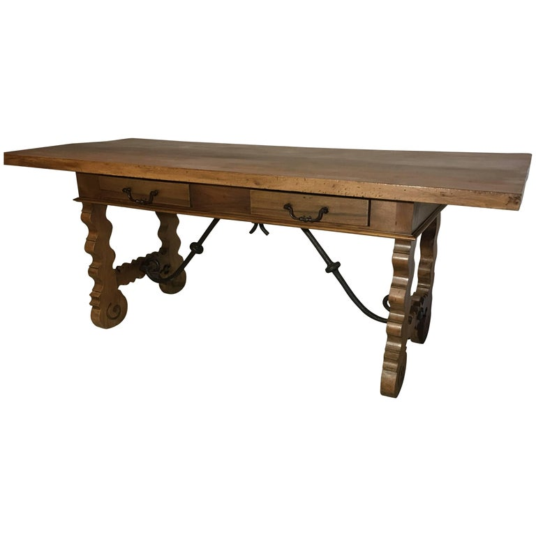 18th Century Baroque Original Farm Refectory Desk Table with Two Drawers