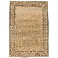 Antique Beige Persian Tabriz Carpet