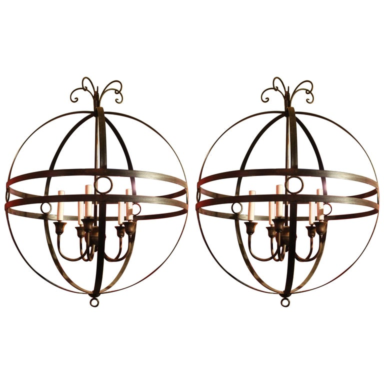 Pair of Italian 20th Century Hand-Wrought Iron Sphere Five Lights Chandelier