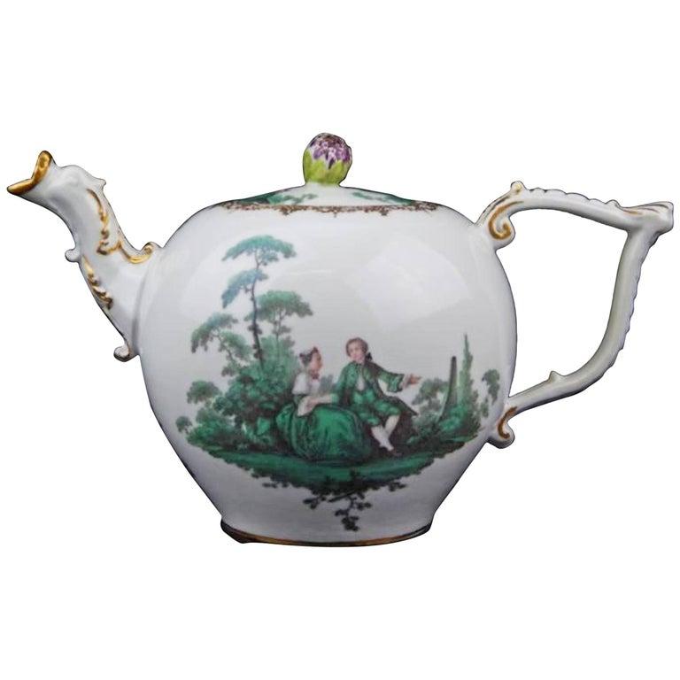 18th Century Antique Meissen Porcelain Green Watteau Tea Pot