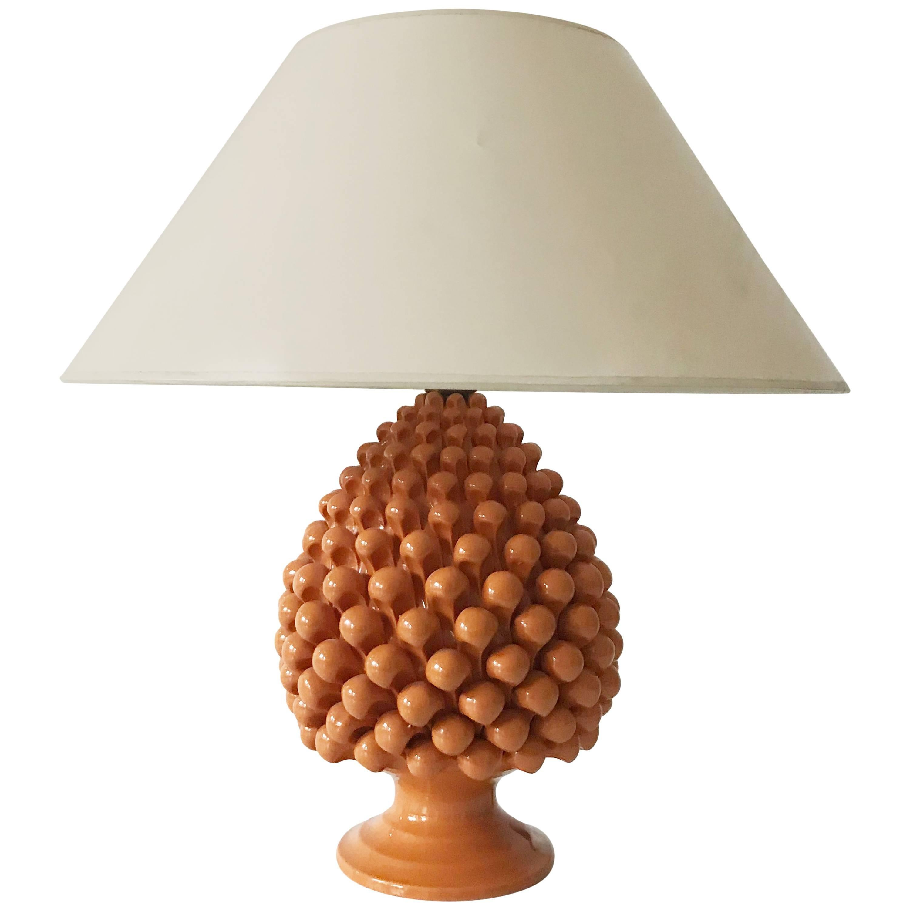 Mid Century Ceramic Pineapple Table Lamp by Marcello Fantoni (attr.) Italy 1970s