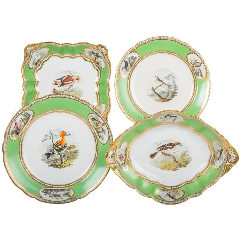Spode Dishes with Hand-Painted Birds and Apple Green Borders