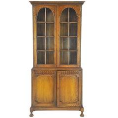 Antique Oak Bookcase, Display Cabinet, Golden Oak, Scotland, 1910, B1001
