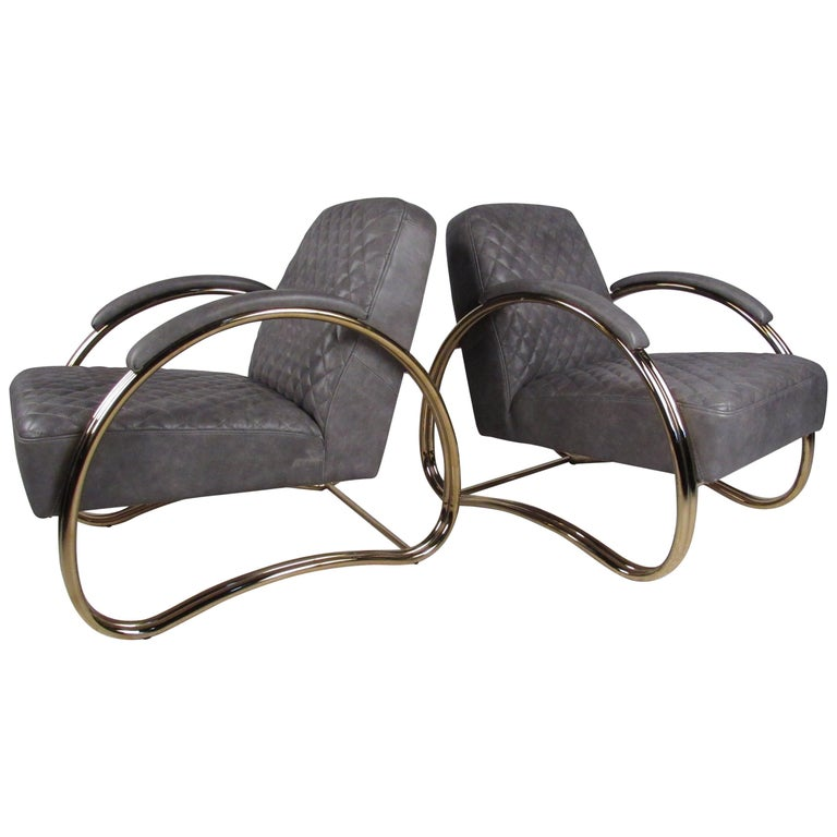 Pair of Modern Leather Lounge Chairs