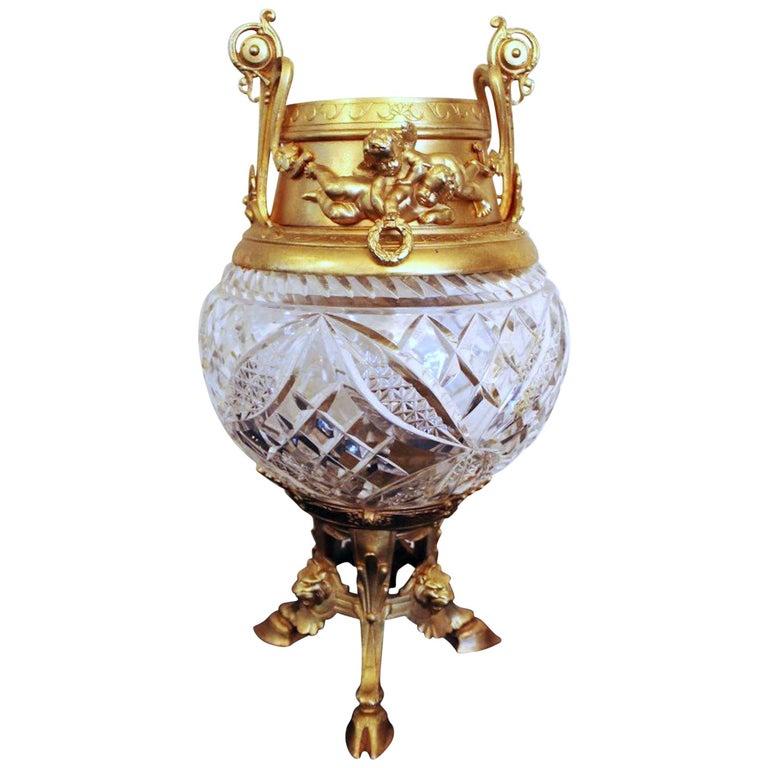 19th Century Antique Brass Ormolu and Cut Glass Vase