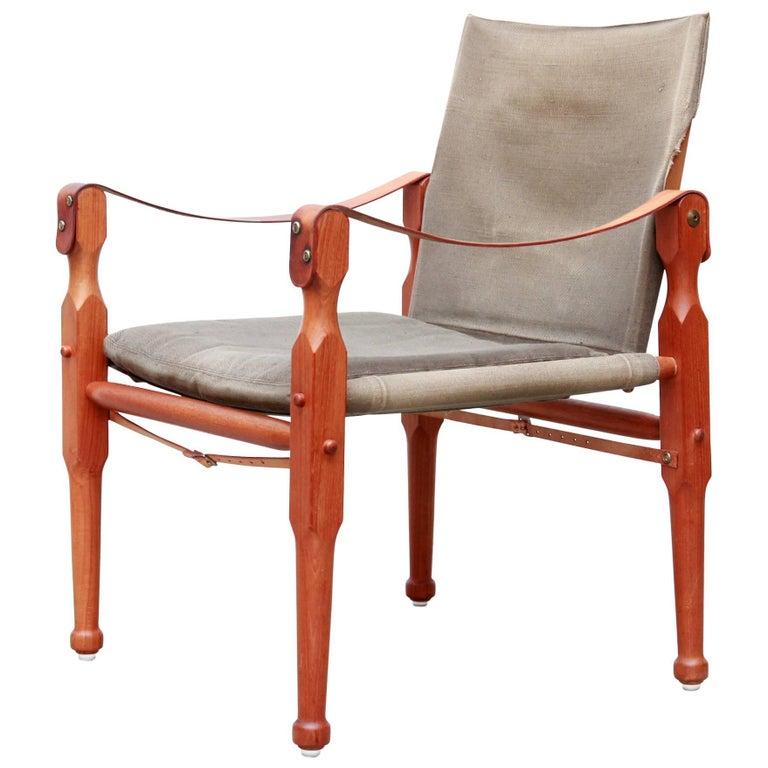 Teak Midcentury Danish Design Safari Chair In Green Canvas