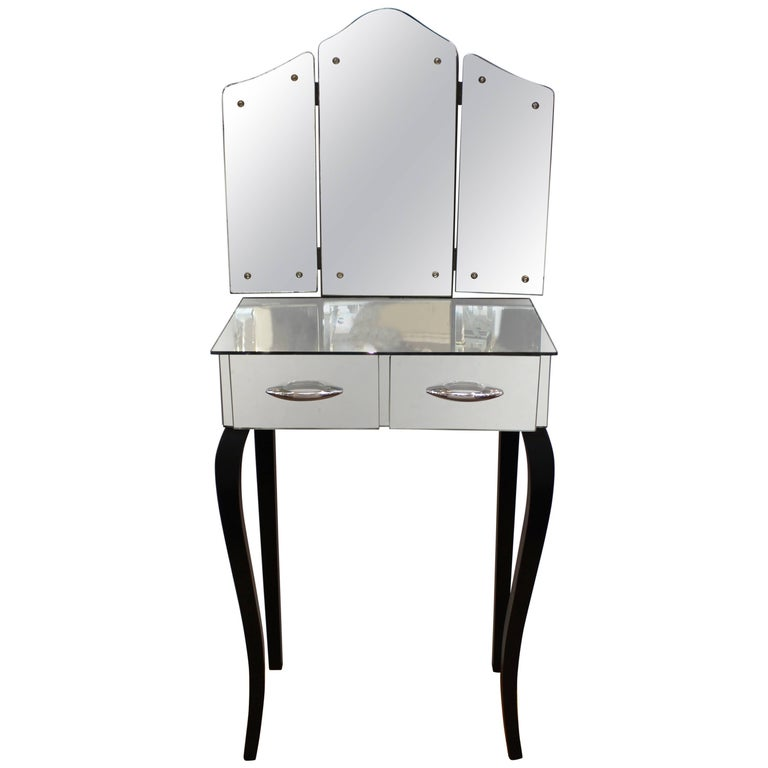 Art Deco Vanity with Mirrored Surface and Trifold Mirror