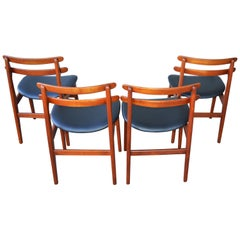 Poul Volther Set of Four Danish Modern Teak Ladder Back Dining Chairs