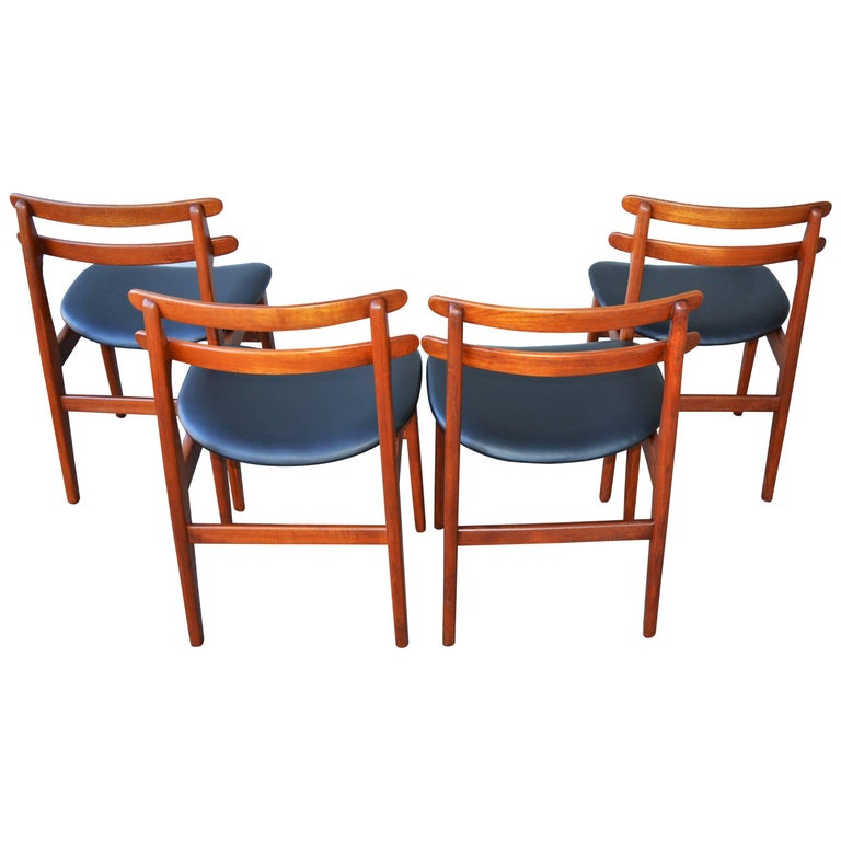 Poul Volther Set Of Four Danish Modern Teak Ladder Back Dining Chairs For