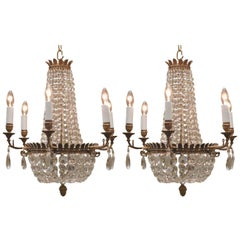 Pair of Neo-Classic Style Six-Light Bronze Chandeliers, France, circa 1890