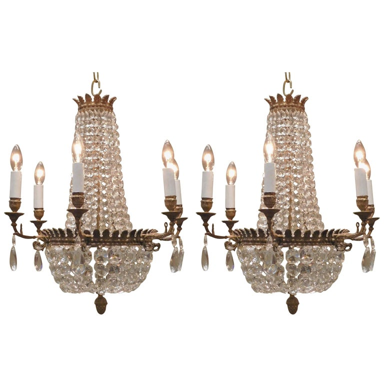 French Neo Grec Style Bronze Chandelier With Pleated Silk