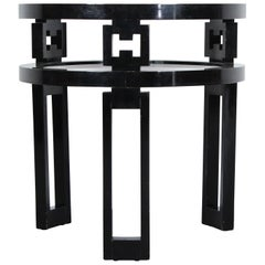 Glass and Mirror Side Table Signed James Mont Designs, 1940s