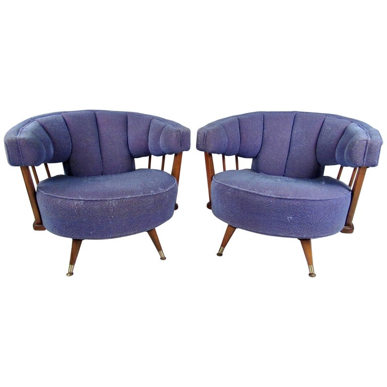 Pair of Vintage Swivel Lounge Chairs