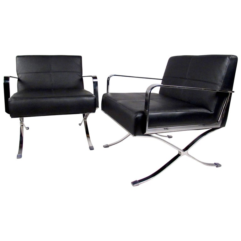 Pair of Modern Club Chairs with X Frame Base