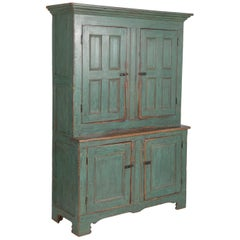 Early American Stepback Cupboard in Blue Paint with Excellent Patina