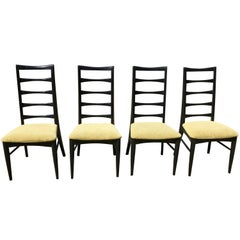 Set of Four Mid Century Black Ladder Back and Upholstered Dining Chairs, 1960's