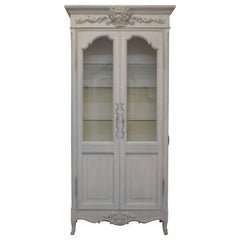 Louis XV Style Painted Vitrine Electrified with Glass Shelve and Doors