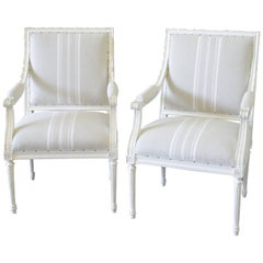 Pair of Louis XVI Style Armchairs in Natural French Stripe Linen