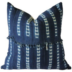 Antique Indigo Blue Batik Accent Pillow with Fringe