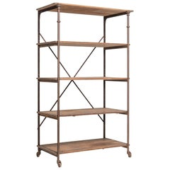 Theodore Scherf Oak and Iron Shelving Unit, circa 1900