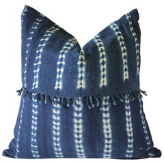 Antique Indigo Blue Batik Accent Pillows with Fringe