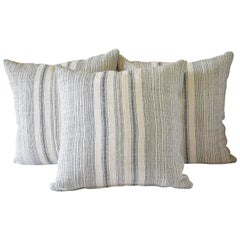 Antique European Hemp Stripe Linen Pillow