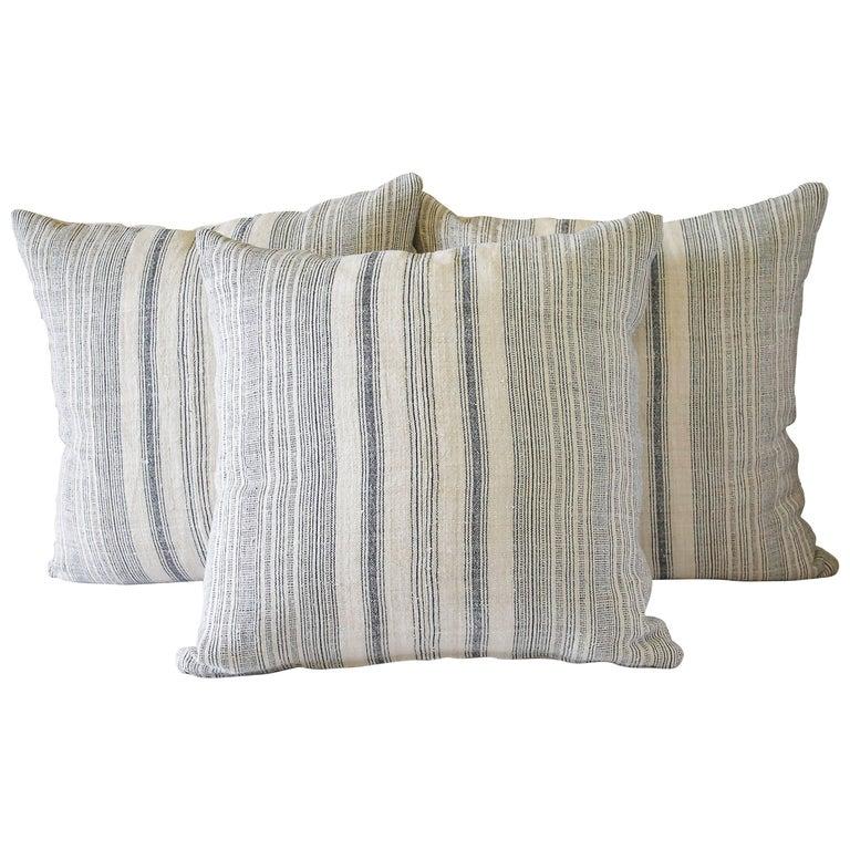 Antique European Hemp Stripe Linen Pillow
