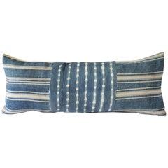 Antique Indigo Blue Batik Lumbar Pillow