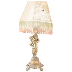 Boudoir Lamp Gold Cherub with Rosette and Fringe Shade
