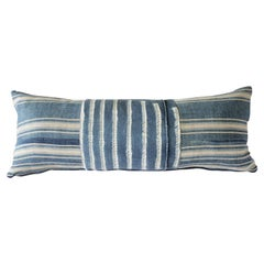 Antique Indigo Blue Batik Lumbar Pillow