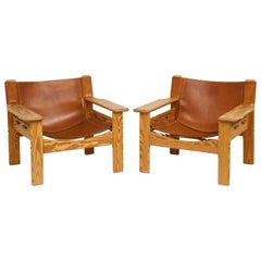 Pair of Wood and Leather Spanish Safari Chairs