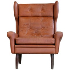 Sven Skipper High Back Winged Arm or Lounge Chair in Cognac Brown Leather