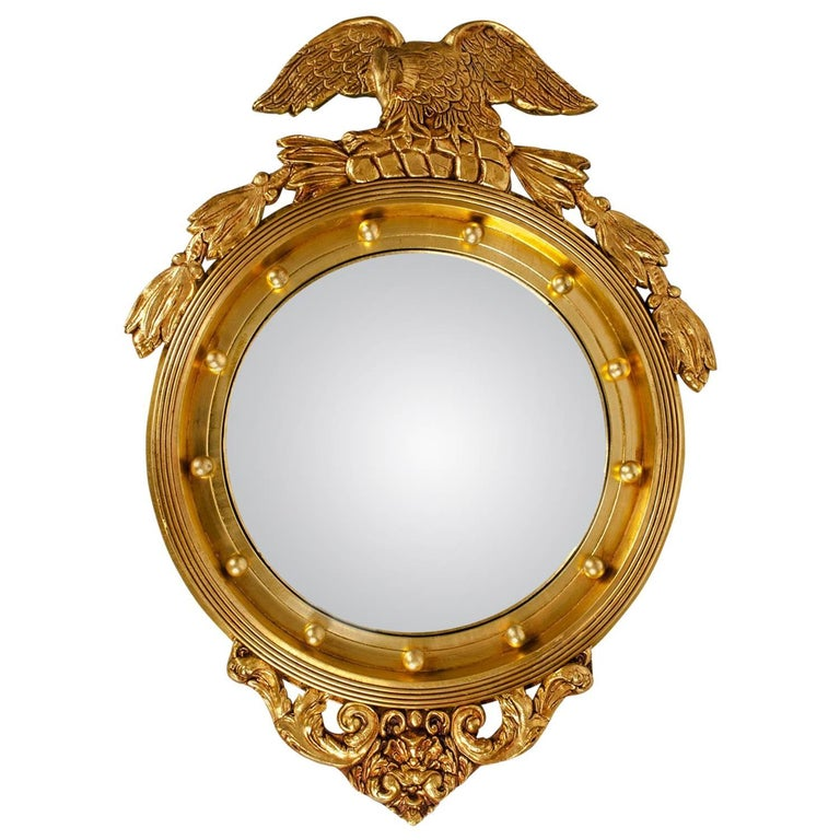 Gilded Wood Framed Federal Style Convex Wall Mirror