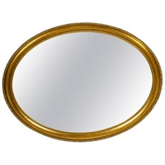 Mid-20th Century Wood Frame Oval Hanging Mirror